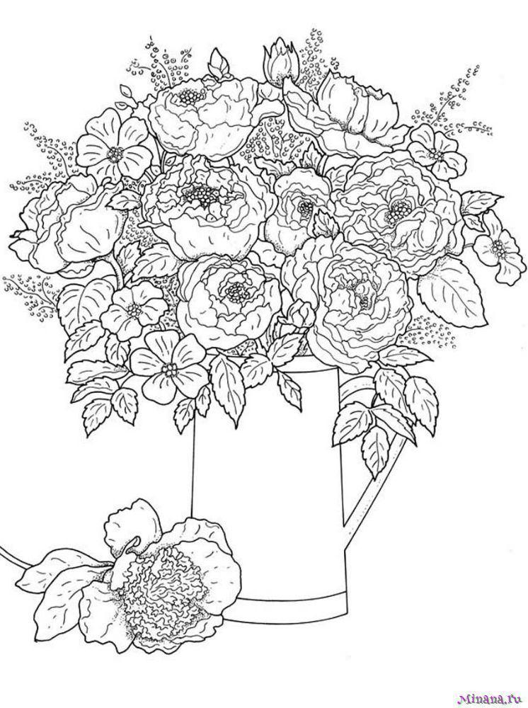 Розмальовка з квітами (30 фото)